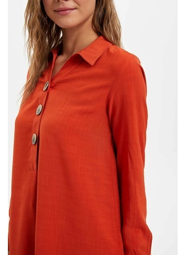 DeFacto Gömlek Yaka Düğmeli Tunik Oranj